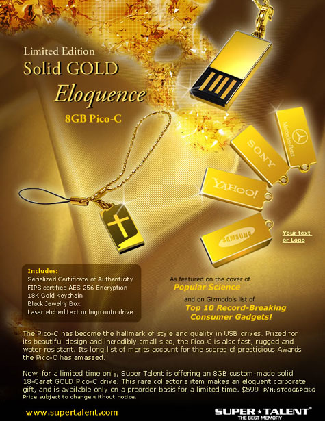 Super Talent Limited Edition 18K Solid Gold Pico-C  » image 1