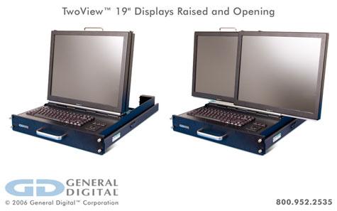 TwoView?: 2U Rack Mount Dual Flip-up Flat Panel LCD Monitors/Keyboard/Trackball » image 2