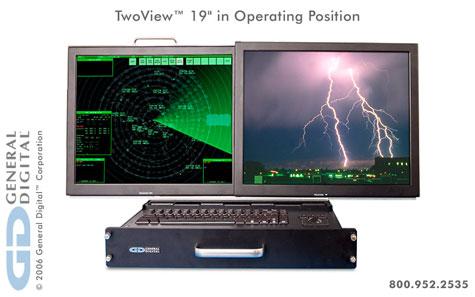 TwoView?: 2U Rack Mount Dual Flip-up Flat Panel LCD Monitors/Keyboard/Trackball » image 3
