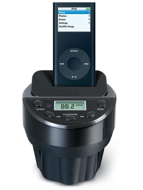 Cup Holder FM Transmitter With iPod Docking In Your Car » image 1