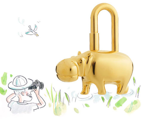Hippopotamus Lock, Gold Plated » image 1