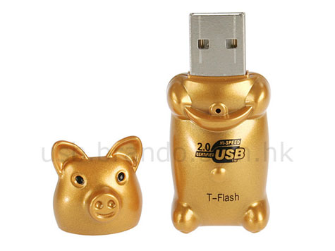 USB Golden Piggy T-Flash / Micro SD Card Reader  » image 2