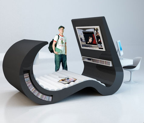 Wave Chaise: Hi-Tech Teenage Furniture With Built-In TV/Computer » image 1