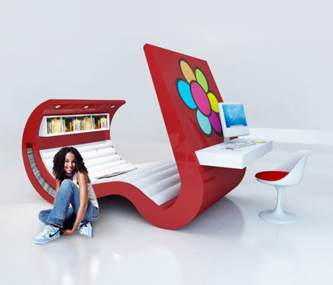Wave Chaise: Hi-Tech Teenage Furniture With Built-In TV/Computer » image 2