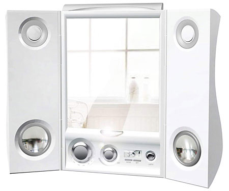 Tri-Fold Wireless MP3 Shower Mirror » image 1
